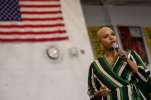 US Representative from Massachusetts Ayanna Pressley speaks during a Get Out the Caucus Rally event in Iowa City, Iowa on February 1, 2020.