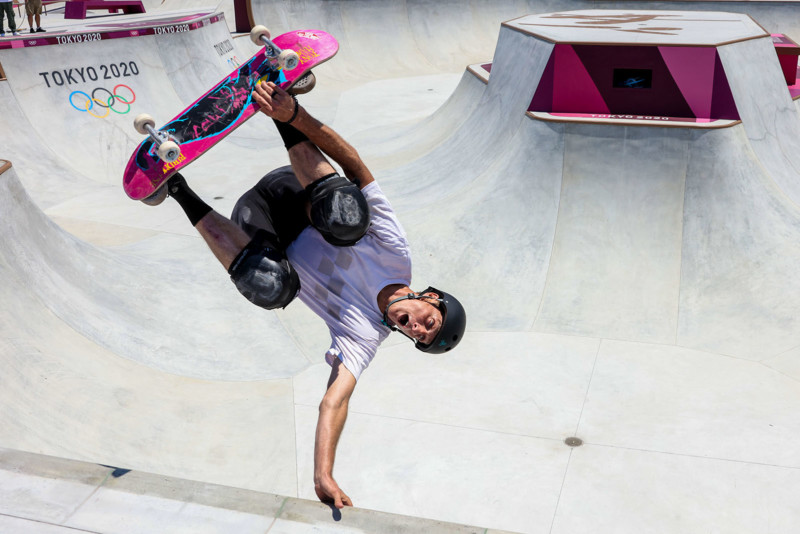 Tokyo, Japan, Friday, July 23, 2021 - Scenes from the Ariake Urban Sports Park where Olympic skateboarders practice before competition starts in a few days. Skating legend Tony Hawk was skating, as well, doing a photo shoot to promote the new Olympic sport. (Robert Gauthier/Los Angeles Times)