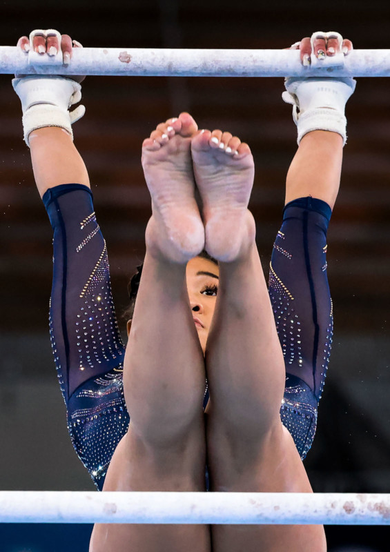 Tokyo, Japan, Sunday, August 1, 2021 - USA gymnast Sunisa Lee earns a Bronze Medal in the Uneven Bars with a score of 14.50 at Ariake Gymnastics Centre. (Robert Gauthier/Los Angeles Times)