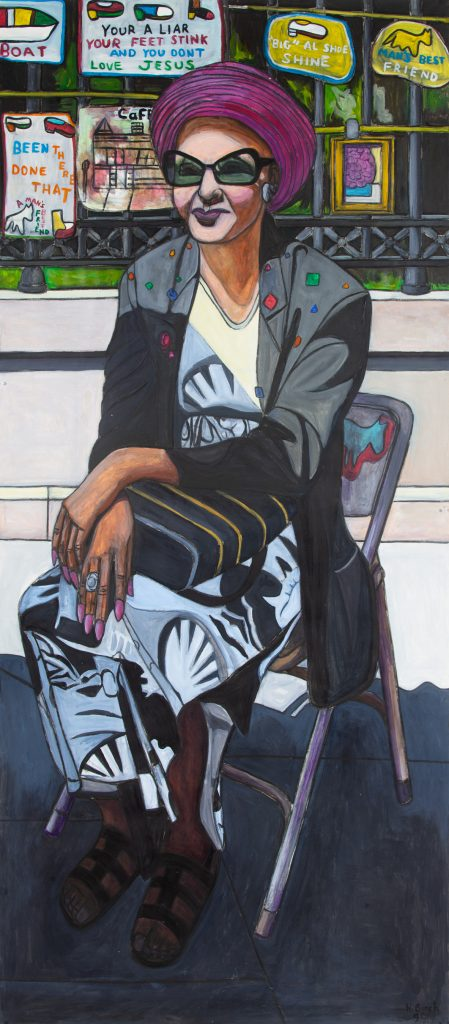 Willie Birch, <i>Woman Sitting in Big Al's Gallery</i> (1999). Photo: Courtesy of the artist and Fort Gansevoort.