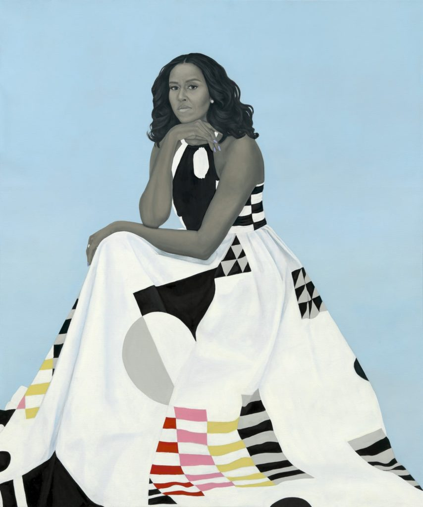 Amy Sherald, Michelle LaVaughn Robinson Obama (2018). Courtesy of the National Portrait Gallery, Smithsonian Institution.